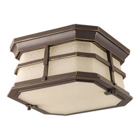 Derby LED 10 inch Antique Bronze Flush Mount Ceiling Light in Etched Seedy Umber Watermark Glass