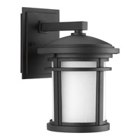Progress Lighting Wish 1 Light LED Outdoor Wall Lantern in Black with Etched White Linen Glass P6084-3130K9