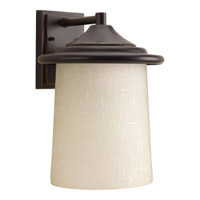 Progress Lighting Essential 1 Light Outdoor Wall Lantern in Antique Bronze with Etched Umber Linen Glass P6086-20