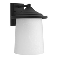 Progress Lighting Essential 1 Light Outdoor Wall Lantern in Black with Etched White Linen Glass P6086-31