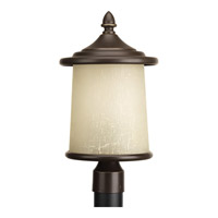 Progress Lighting Essential 3 Light Post Lantern in Antique Bronze with Etched Umber Linen Glass P6412-20