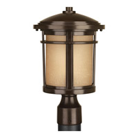 Progress Lighting Wish 1 Light Post Lantern in Antique Bronze with Etched Umber Linen Glass P6424-20