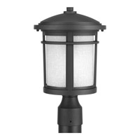 Progress Lighting Wish 1 Light Post Lantern in Black with Etched White Linen Glass P6424-31