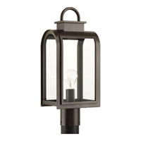 Progress Lighting Refuge 1 Light Post Lantern in Oil Rubbed Bronze with Clear and Etched Umber Glass P6431-108