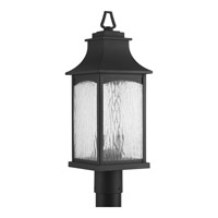 Progress Lighting Maison 2 Light Post Lantern in Black with Water Seeded Glass P6432-31