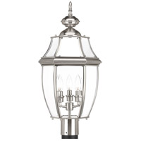 New Haven 3 Light 23 inch Brushed Nickel Outdoor Post Lantern