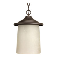 Progress Lighting Essential 1 Light Outdoor Hanging Lantern in Antique Bronze with Etched Umber Linen Glass P6512-20