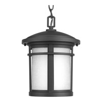 Progress Lighting Wish 1 Light Outdoor Hanging Lantern in Black with Etched White Linen Glass P6524-31