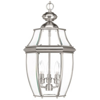 New Haven 3 Light 11 inch Brushed Nickel Outdoor Hanging Lantern