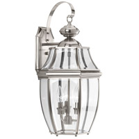 New Haven 3 Light 22 inch Brushed Nickel Outdoor Wall Lantern, Large