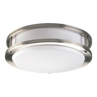 Acrylic Round 1 Light 10 inch Brushed Nickel Flush Mount Ceiling Light in Circline Fluorescent