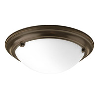 Eclipse 2 Light 15 inch Antique Bronze Close-to-Ceiling Ceiling Light in Satin White Glass