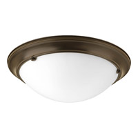 Progress P7316-20WB Eclipse 3 Light 19 inch Antique Bronze Close-to-Ceiling Ceiling Light in Satin White Glass