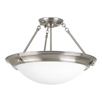 Progress P7328-09WB Eclipse 3 Light 19 inch Brushed Nickel Close-to-Ceiling Ceiling Light