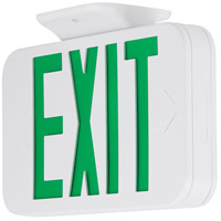 Safety Light LED 12 inch White Exit Sign Ceiling Light in Green