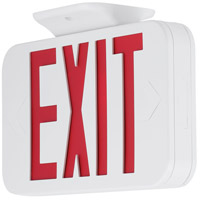 Safety Light LED 12 inch White Exit Sign Ceiling Light in Red