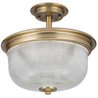 Progress P2334-163 Archie 2 Light 12 inch Vintage Brass Semi-Flush Mount Ceiling Light Pendant Convertible