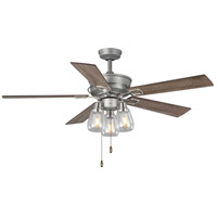 Teasley 56 inch Galvanized Finish with Reversible Driftwood/Grey Weathered Wood Blades Ceiling Fan