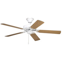 White Progress Lighting P2500-30 42-Inch 5 Blade Fan with 3-Speed Reversible Motor with Reversible White or Washed Oak Blades