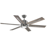 Glandon 60 inch Antique Nickel with Reversible Walnut/Driftwood Blades Ceiling Fan, Progress LED