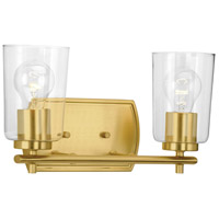 Progress P300155-012 Adley 2 Light 14 inch Satin Brass Bath Vanity Wall Light