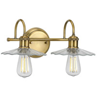 Progress P300287-163 Fayette 2 Light 17 inch Vintage Brass Bath Bracket Wall Light