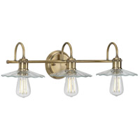 Progress P300288-163 Fayette 3 Light 26 inch Vintage Brass Bath Bracket Wall Light