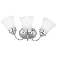 Fluted Glass 3 Light Polished Chrome Bath Vanity Wall Light