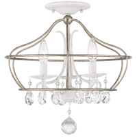 Fleurette 3 Light 16 inch Cottage White Semi-Flush Mount Ceiling Light, Pendant Convertible