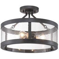 Gresham 3 Light 18 inch Graphite Semi-Flush Mount Ceiling Light, Pendant Convertible, Design Series