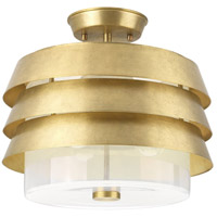 Progress P350141-160 Point Dume Sandbar 3 Light 15 inch Brushed Brass Semi-Flush Convertible Ceiling Light Jeffrey Alan Marks Design Series