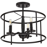 Progress P350150-031 Durrell 3 Light 16 inch Matte Black Semi-Flush Mount Convertible Ceiling Light