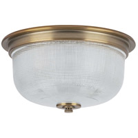 Archie 2 Light 12 inch Vintage Brass Flush Mount Ceiling Light