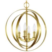 Progress P3827-12 Equinox 4 Light 16 inch Satin Brass Sphere Foyer Pendant Ceiling Light