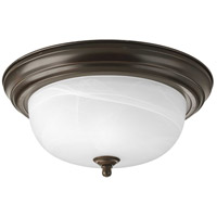 "Progress P3925-20 Dome Glass CTC 2 Light 13 inch Antique Bronze Flush Mount Ceiling Light in 13-1/4"", Alabaster Glass, Standard"