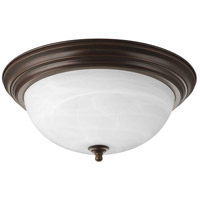 "Progress P3926-20 Dome Glass CTC 3 Light 15 inch Antique Bronze Flush Mount Ceiling Light in 15-1/4"", Alabaster Glass, Standard"