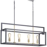 Progress P400086-143 Blakely 4 Light 41 inch Graphite Linear Chandelier Ceiling Light Design Series