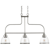 Saluda 3 Light Brushed Nickel Island Chandelier Ceiling Light