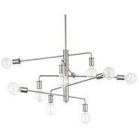 Progress P400144-009 Calder 10 Light 39 inch Brushed Nickel Chandelier Ceiling Light Design Series
