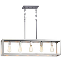 Progress P400145-135 Union Square 5 Light 38 inch Stainless Steel Linear Chandelier Ceiling Light Design Series