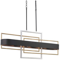 Progress P400170-031 Adagio 6 Light 38 inch Black Linear Chandelier Ceiling Light, Design Series