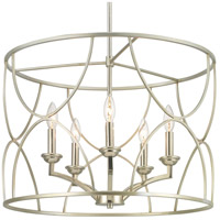 Progress P400178-134 Landree 5 Light 23 inch Silver Ridge Chandelier Ceiling Light