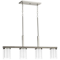 Mast 4 Light 38 inch Brushed Nickel Linear Chandelier Ceiling Light