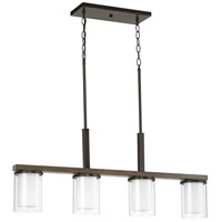 Mast 4 Light 38 inch Antique Bronze Linear Chandelier Ceiling Light