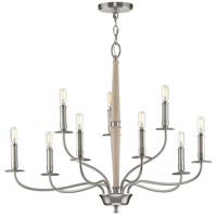 Progress P400200-009 Durrell 9 Light 32 inch Brushed Nickel Chandelier Ceiling Light