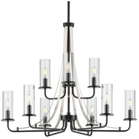 Progress P400210-031 Riley 9 Light 30 inch Black Chandelier Ceiling Light