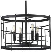 Progress P400213-031 Torres 4 Light 18 inch Textured Black Chandelier Ceiling Light Design Series