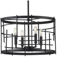 Progress P400213-031 Torres 4 Light 18 inch Textured Black Chandelier Ceiling Light, Design Series