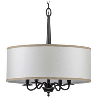 Progress P400218-031 Durrell 4 Light 21 inch Matte Black Chandelier Ceiling Light