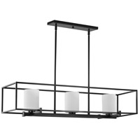 Progress P400225-031 Chadwick 3 Light 40 inch Matte Black Island Chandelier Ceiling Light